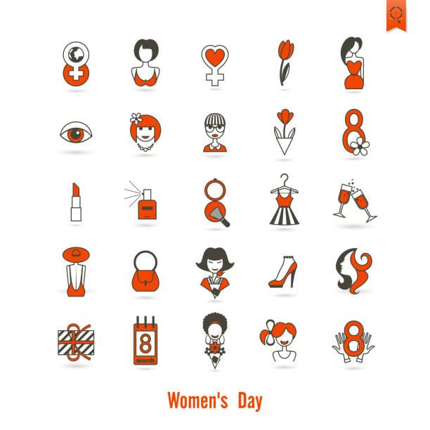 women's day-icon-set - damenmode stock-grafiken, -clipart, -cartoons und -symbole