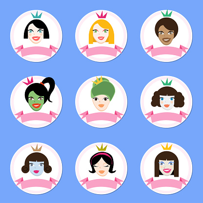 Woman's Day Round Icon Set - March 8 Women Avatars