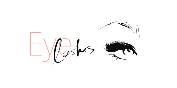 Woman's eye with long lashes. Hand drawn and calligraphic design elements on the theme of beauty and makeup
