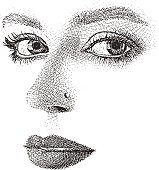 Etching illustration of a Woman's eyes, nose and mouth. High key, cut out.