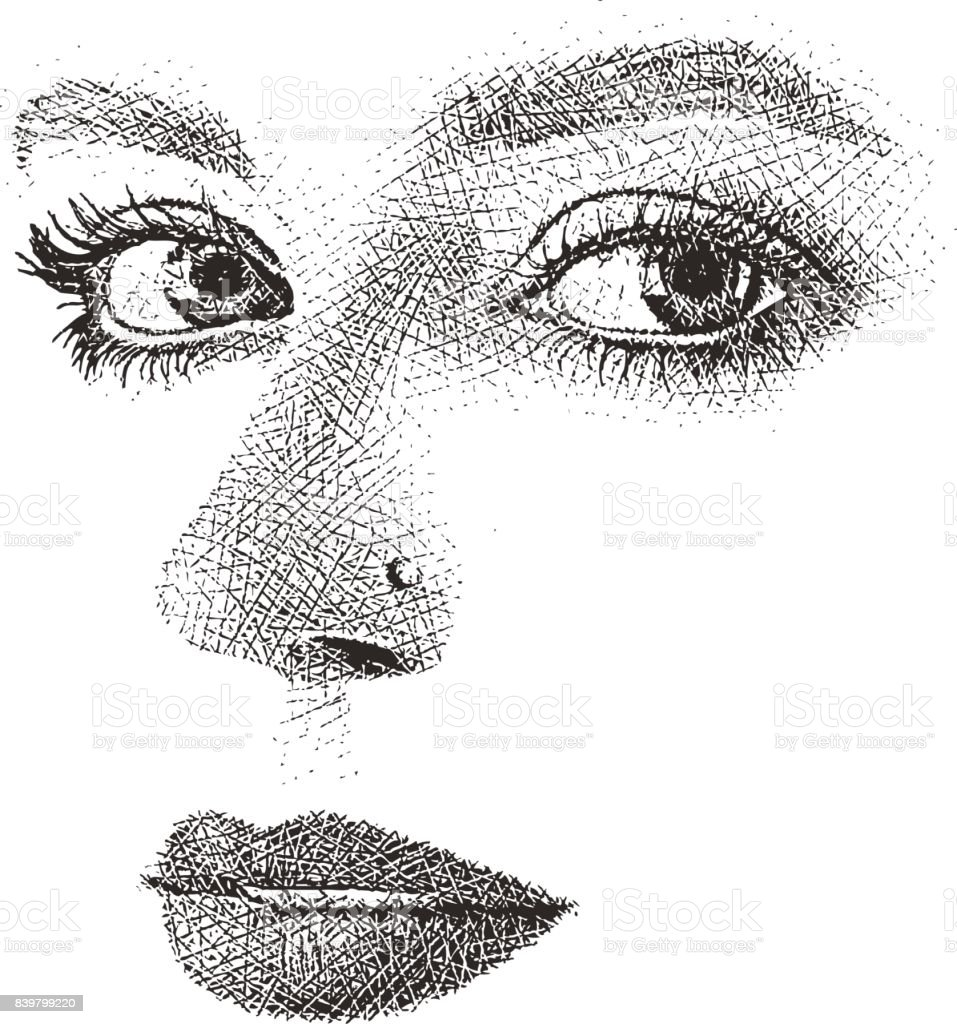 Woman's eyes, nose and mouth. High key, cut out. vector art illustration
