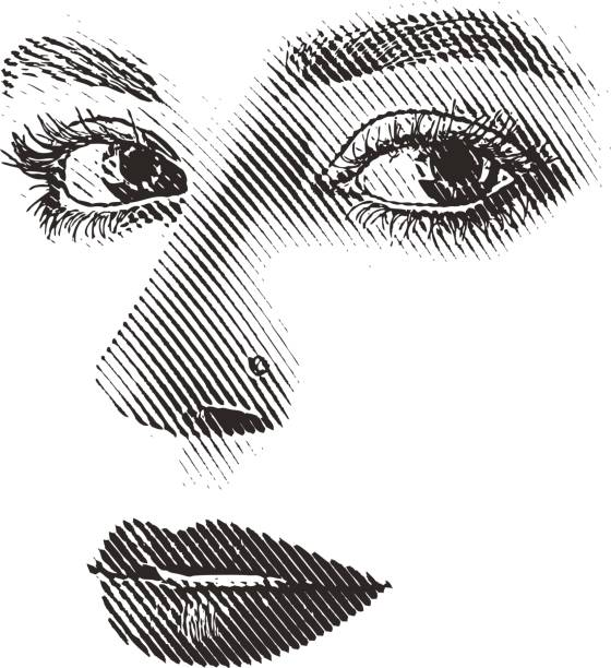 Royalty Free Pen Drawing Woman Face Line Clip Art, Vector
