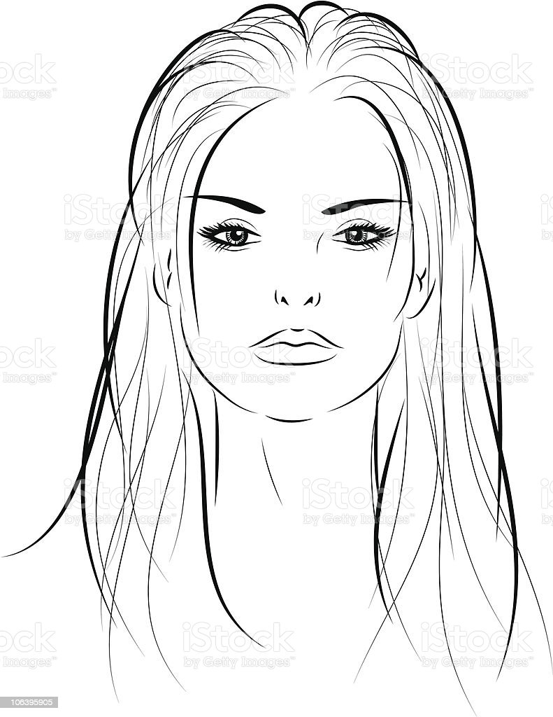 Woman S Face Line Drawing : Womans face stock vector art more images of adult