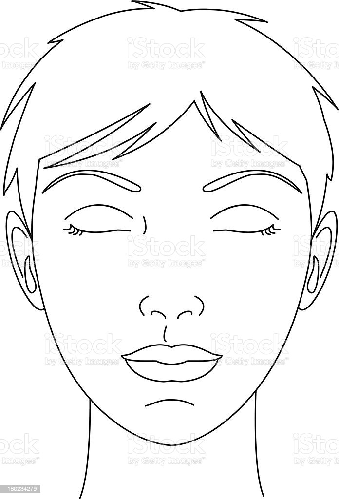 Woman's Face Eyes Closed vector art illustration