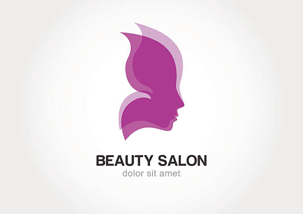 Woman's face in butterfly wings.  concept for beauty salon. vector art illustration