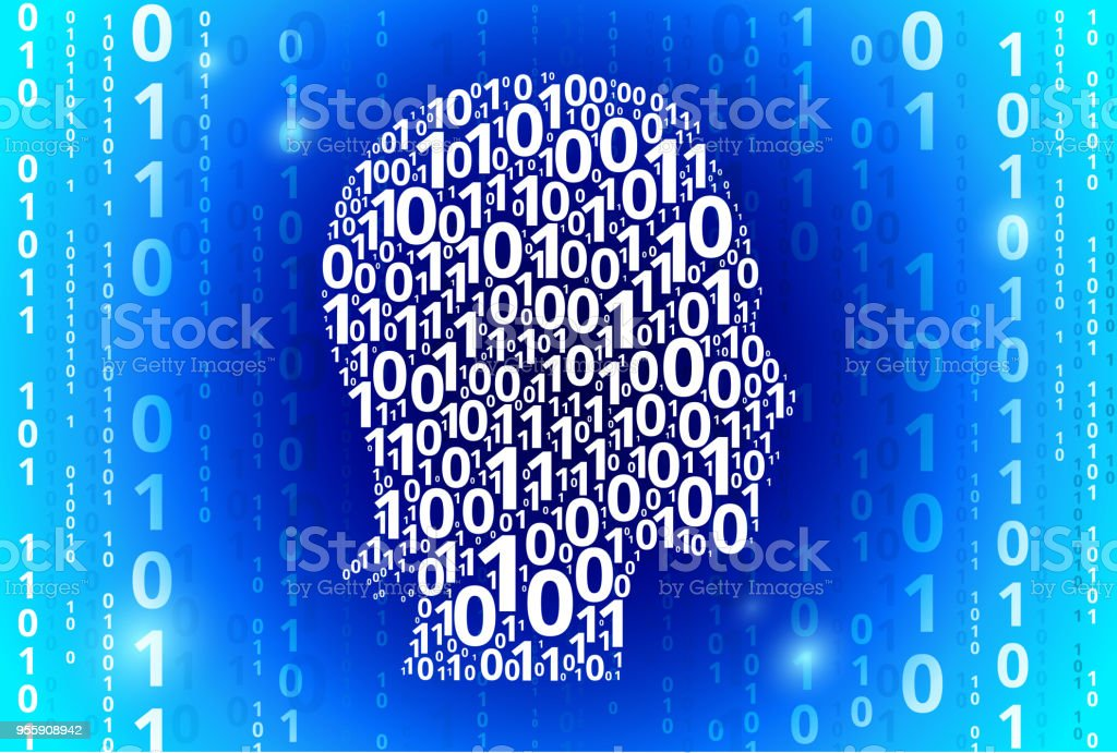 Ilustración de Cara Retrato Código Binario Vector Azul De Fondo De ...