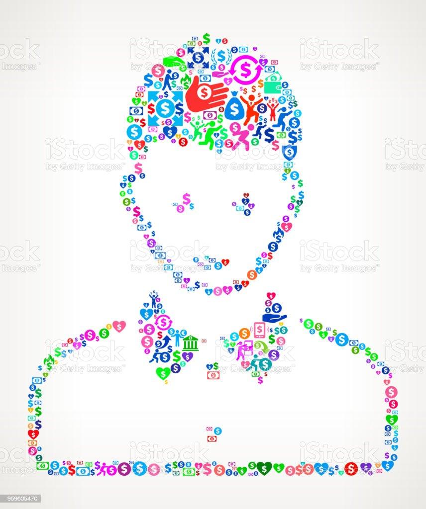 Cara retrato dinero Vector icono patrón de la mujer - arte vectorial de Actividades bancarias libre de derechos