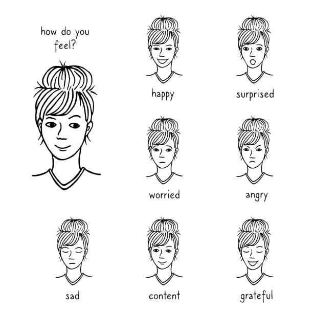 Woman's face revealing various emotions vector art illustration