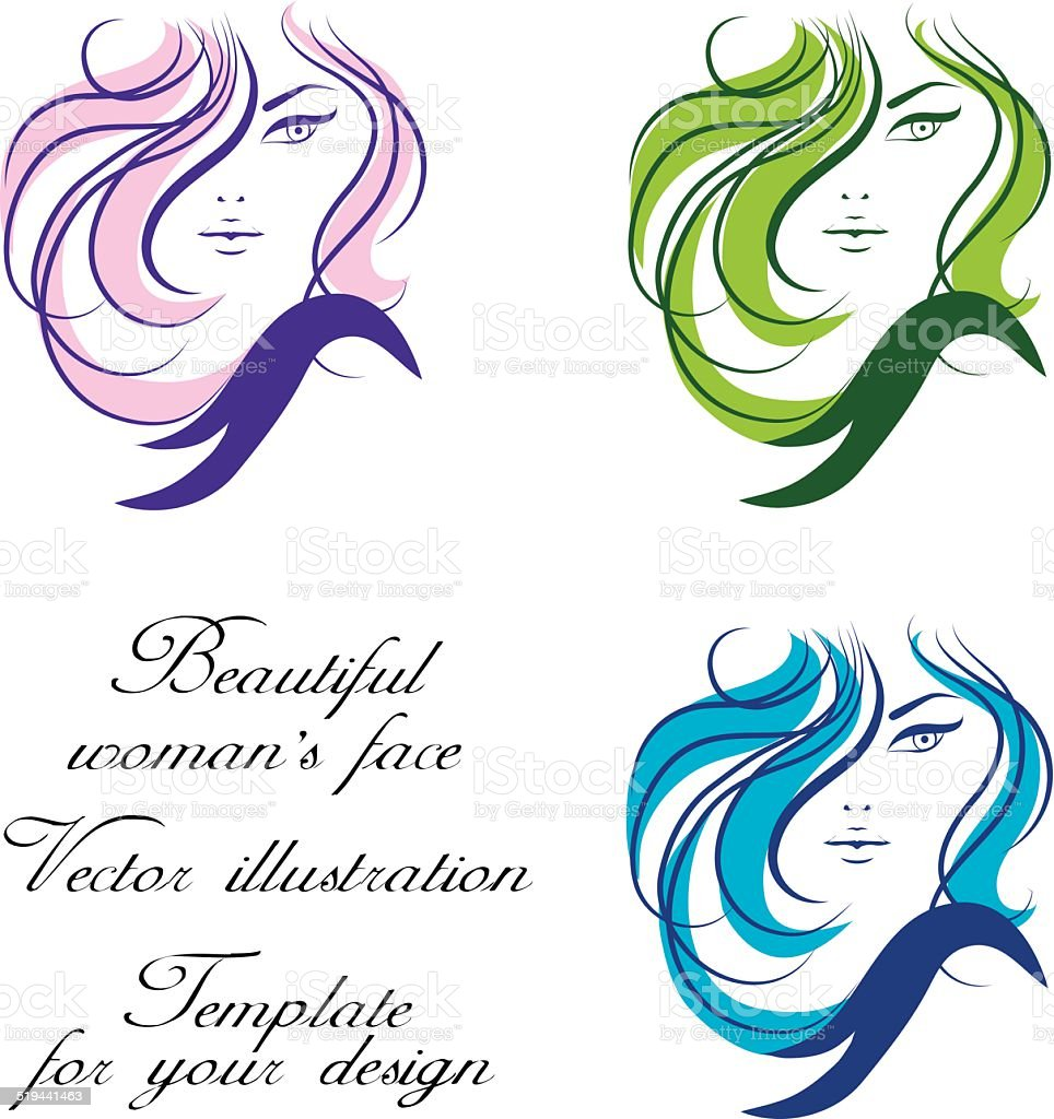 Womans face. Vector illustration. Template for your design. vector art illustration