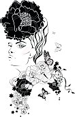 woman's face with a flower in hair. Fashion illustration.