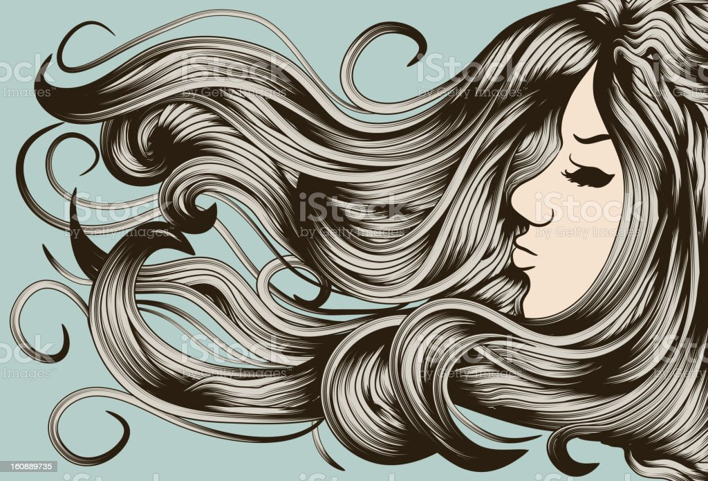 Woman's face with detailed hair vector art illustration