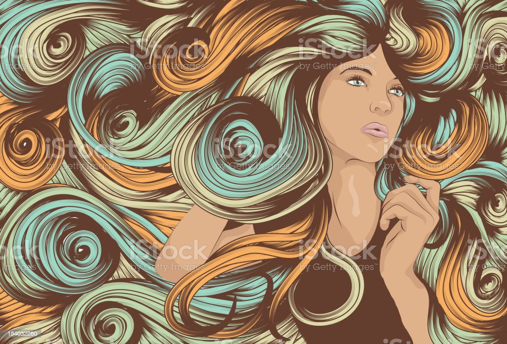 Woman's face with long detailed hair vector art illustration