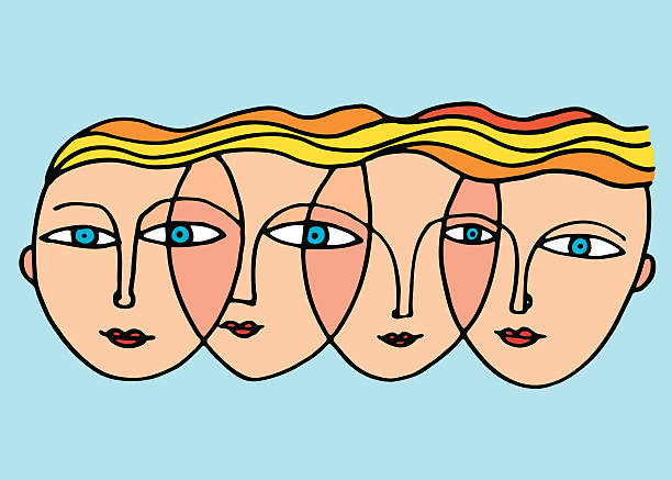 woman's faces vector - old man face silhouettes stock illustrations, clip art, cartoons, & icons