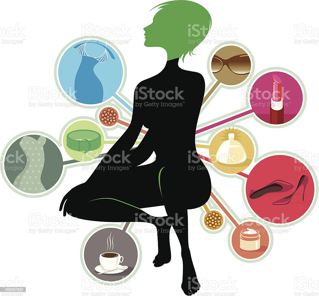 Woman's favourite stuff royalty-free womans favourite stuff stock vector art & more images of adult