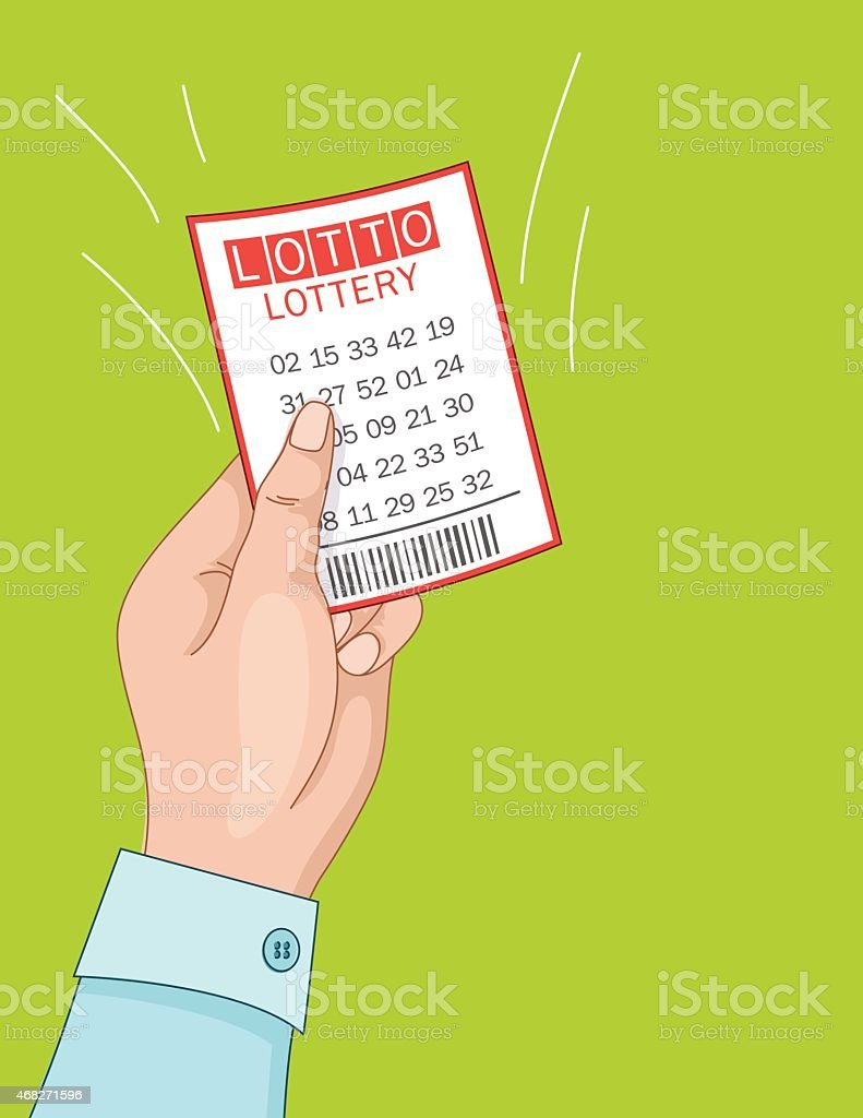 Womans Hand Holding A Winning Lottery Ticket. vector art illustration