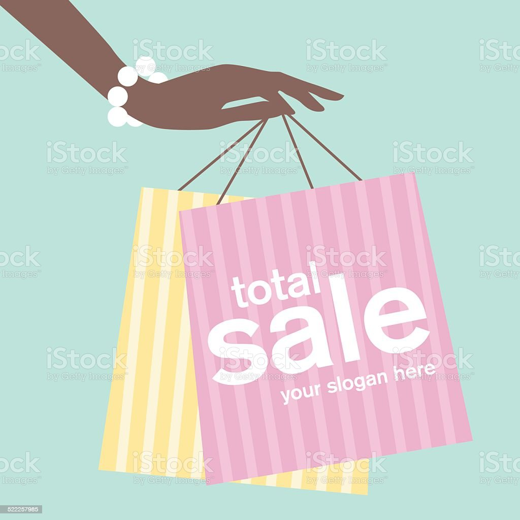 Woman's hand holding shopping bags vector art illustration