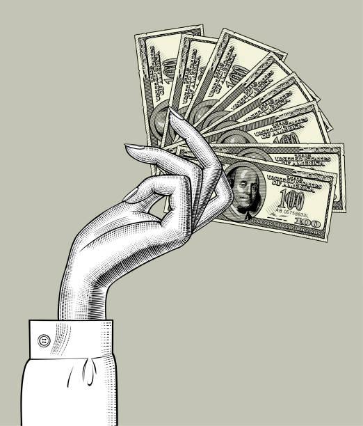 stockillustraties, clipart, cartoons en iconen met vrouw hand palm naar beneden met ventilator van bankbiljetten van 100 dollar - woman very rich