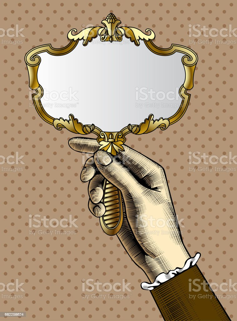 hand holding mirror. Woman\u0027s Hand With A Gold Retro Mirror Vector Art Illustration Holding