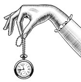 Isolated antique pocketwatch on a white background.Similar image in vector
