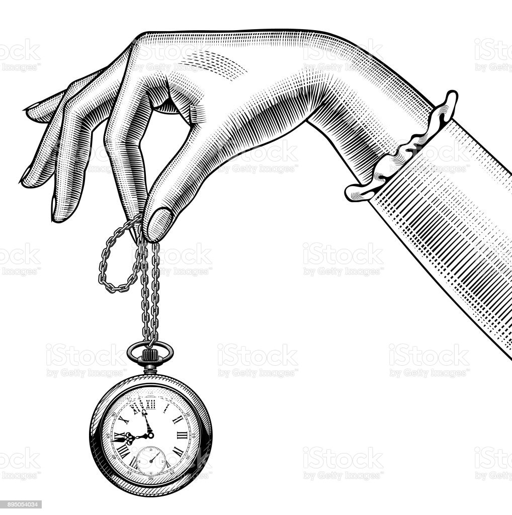 Woman's hand with a retro pocket watch vector art illustration