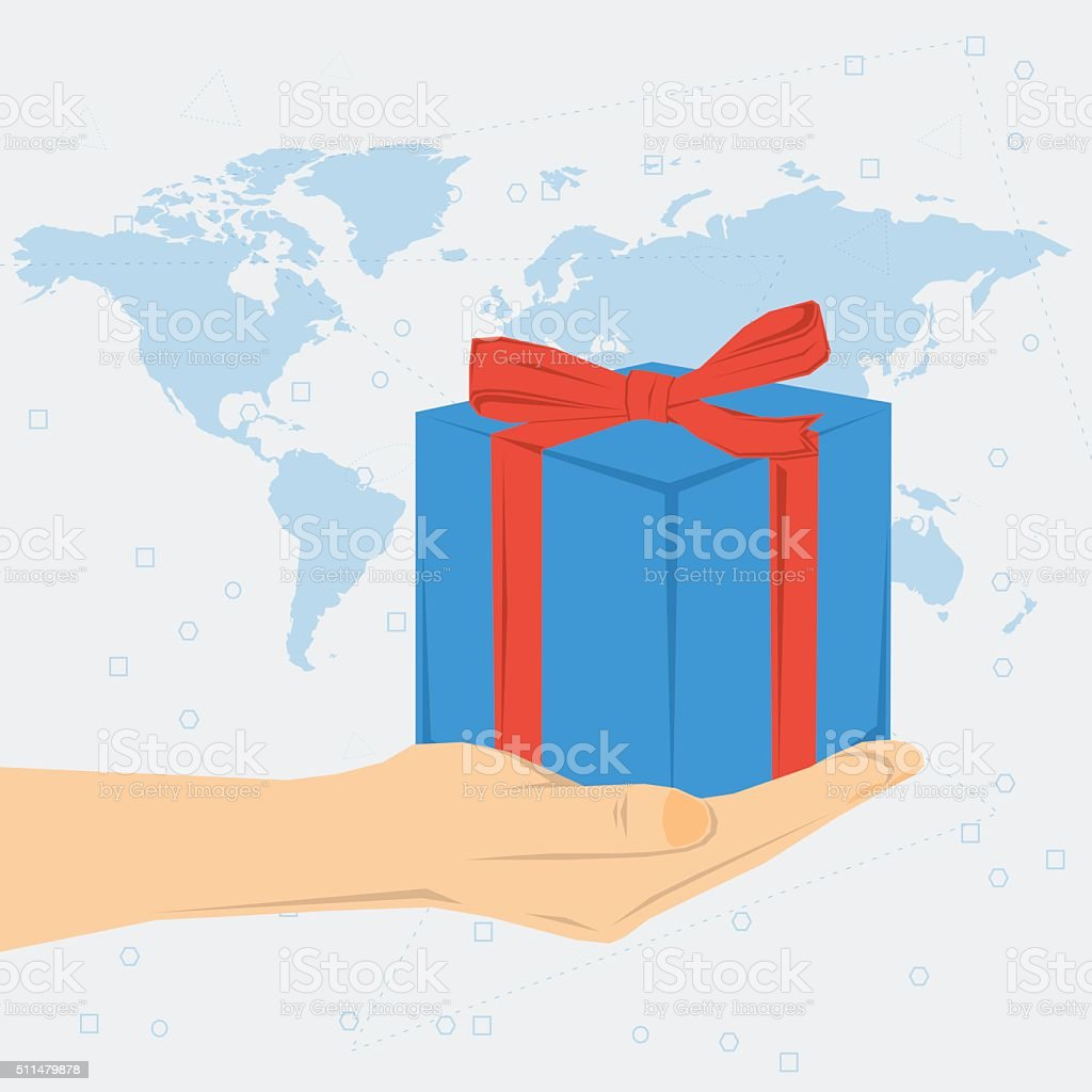 Womans hand with gift box vector art illustration