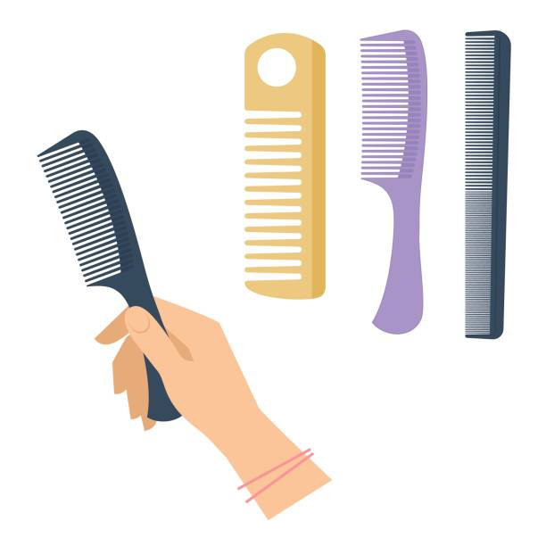 Woman's hand with hairstyle accessory, comb set. Flat vector illustration. vector art illustration