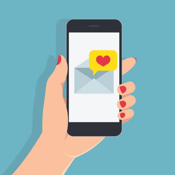 愛のメッセージ付きスマート フォン画面上に保持しているマニキュアと女性の手。緑の背景に携帯電話で手。 - 手 女性点のイラスト素材/クリップアート素材/マンガ素材/アイコン素材