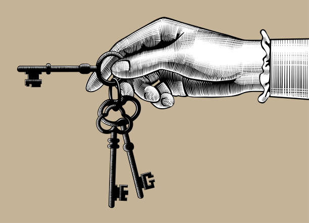 Woman's hand with old keys Woman's hand with old keys. Retro style unlock sign and icon. Vintage engraving stylized drawing. Vector illustration isolated color stock illustrations