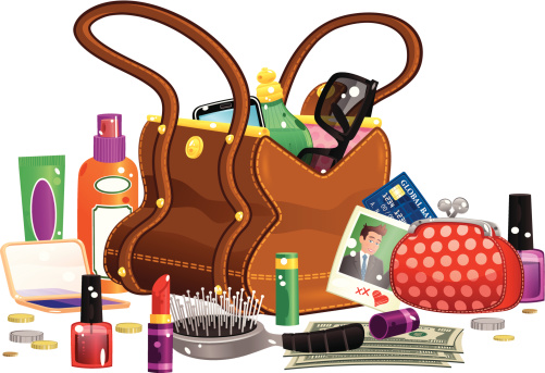 Womans handbag and contents