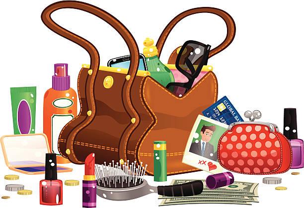 frau handtasche und inhalt - lederranzen stock-grafiken, -clipart, -cartoons und -symbole