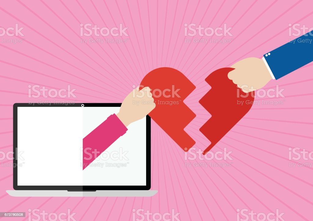 Womans hands appeared from laptop screen and man giving their own hearts to each other with I love you on pink sunray background. Flat design of Valentines day love online concept. womans hands appeared from laptop screen and man giving their own hearts to each other with i love you on pink sunray background flat design of valentines day love online concept – cliparts vectoriels et plus d'images de amitié libre de droits
