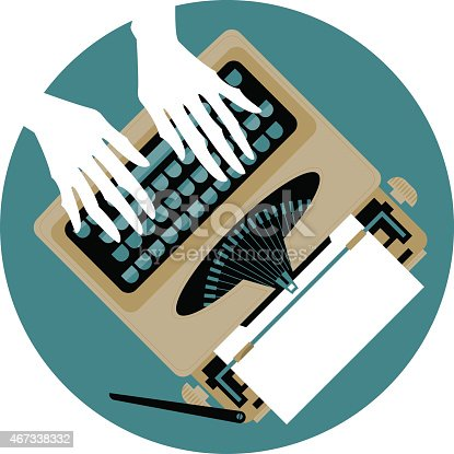 Woman's hands typing on a vintage typewriter. Vector illustration