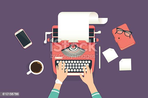Woman's hands typing an article on a vintage typewriter. Flat illustration of working process and author modern workplace. Business background for promotion and blogging
