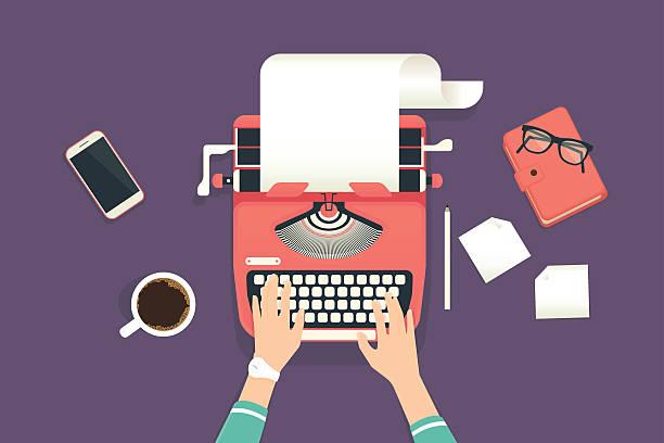 woman's hands typing on a vintage typewriter - buchstabenschreibweise stock-grafiken, -clipart, -cartoons und -symbole
