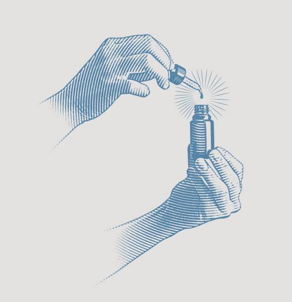 illustrazioni stock, clip art, cartoni animati e icone di tendenza di woman's hands using cbd oil bottle and pipette - dose