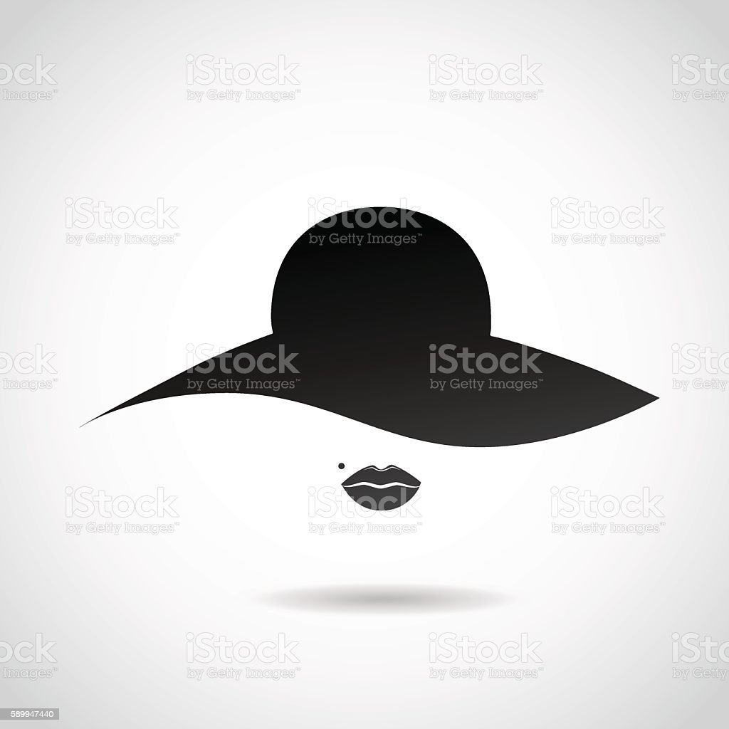 Woman's hat and sexy lips icon.
