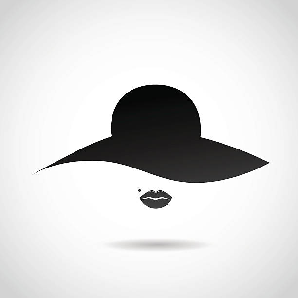 woman's hat and sexy lips icon. - womens fashion stock illustrations, clip art, cartoons, & icons