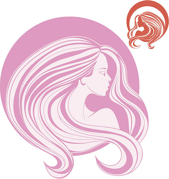 woman's head in side view with curl long  hair vector art illustration