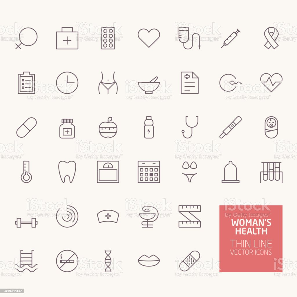 Womans Health Outline Icons for web and mobile apps vector art illustration