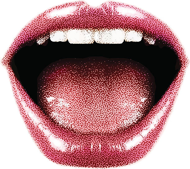stockillustraties, clipart, cartoons en iconen met woman's laughing mouth and lips - mensentong
