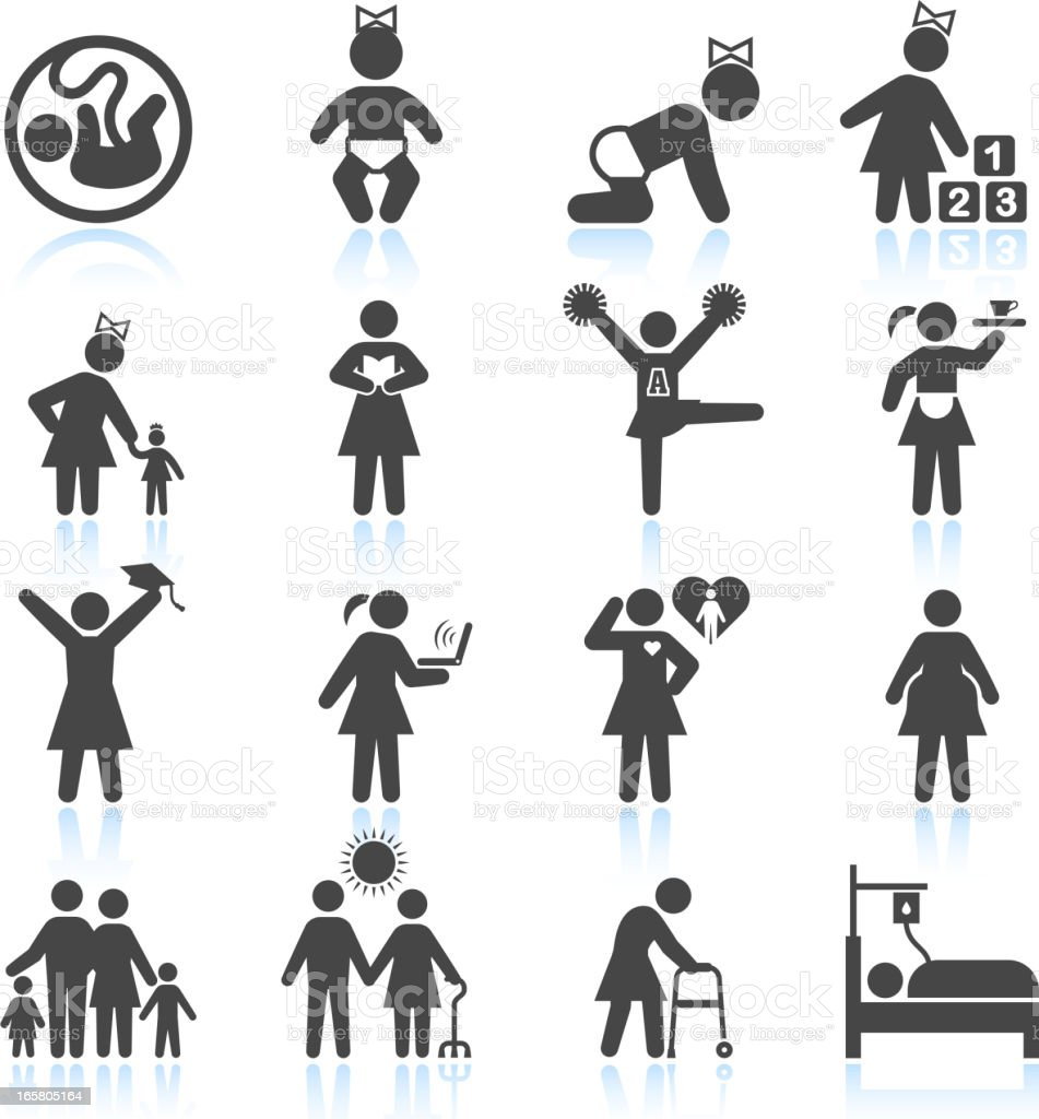Woman's life from childhood to adult and elderly icon set vector art illustration