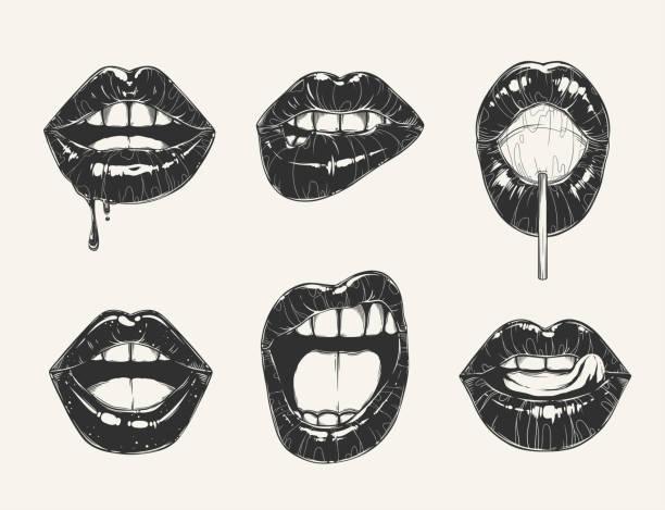La valeur de gestes de lèvre de la femme. Bouche de la jeune fille noir et blanc bouchent les différentes émotions - Illustration vectorielle