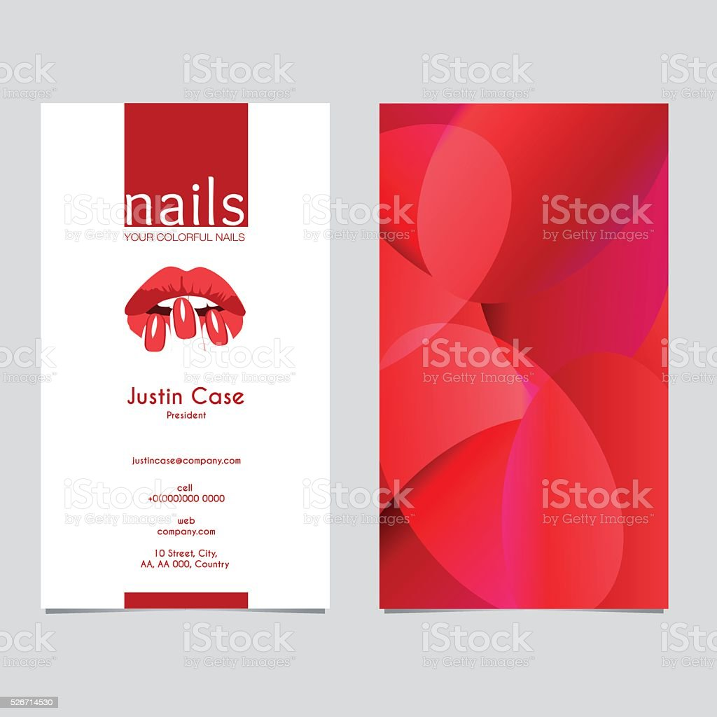 Woman's lips nails silhouette vector icon & business card template vector art illustration