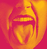 Woman's mouth laughing and smiling