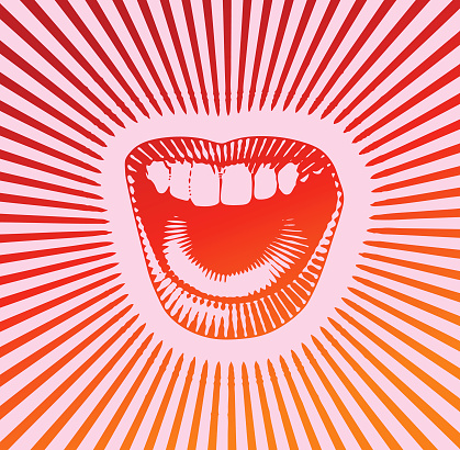 Woman's mouth laughing and smiling with sunbeams