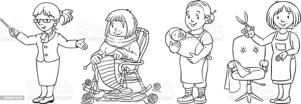 Ilustración de Profesión Mujer Conjunto De Libro De Colorear y más ...