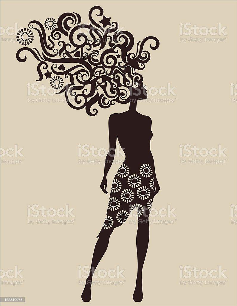Woman's silhouette. vector art illustration
