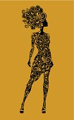 Woman's silhouette made of decorative patterns. Eps and hi-res jpg, layers.