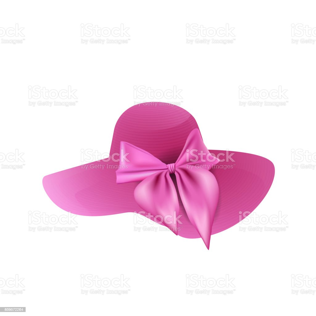 Woman`s summer pink hat isolated on white background. vector illustration. vector art illustration