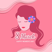 Illustration of 8 March Happy Woman's Day design with woman's face graphic.